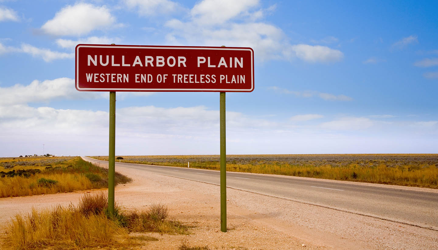 South Australia - Sign Western End of Treeless Plain