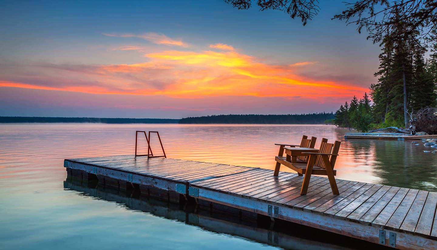 Manitoba - Sunrise over the dock in Clear Lake, Manitoba