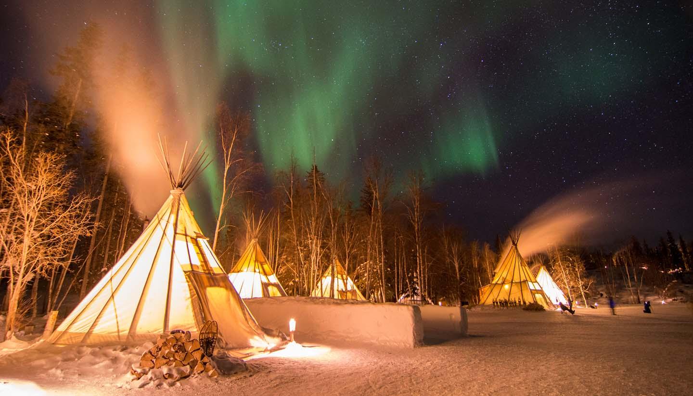 Northwest Territories - Aurora Over Teepees, Yellowknife