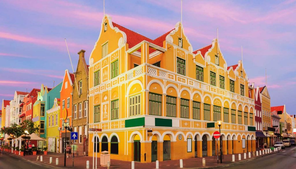 Curaçao - Town view illustration of Curacao Netherlands Antilles