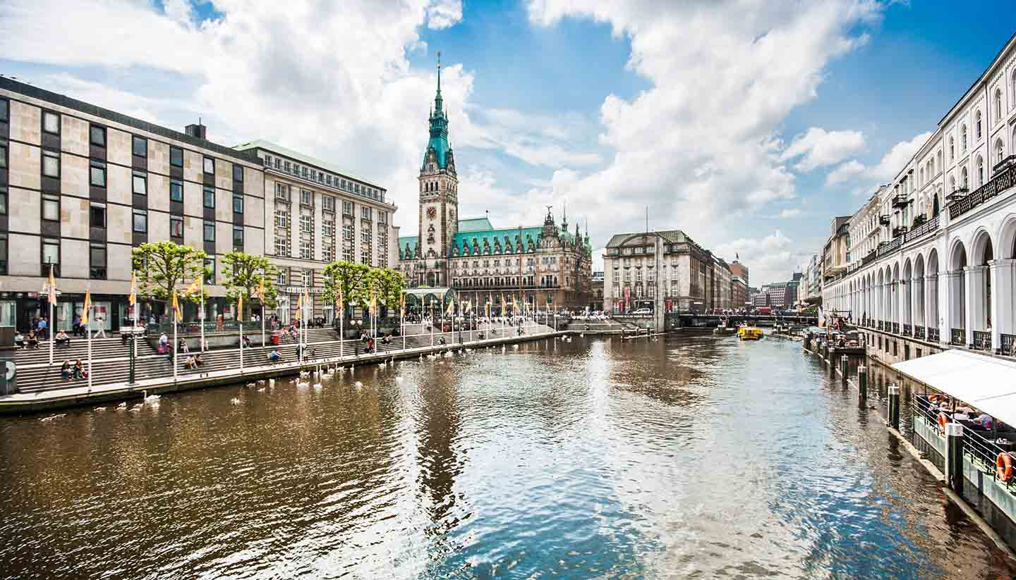 Hamburg - Hamburg city center with town hall and Alster river, Germany