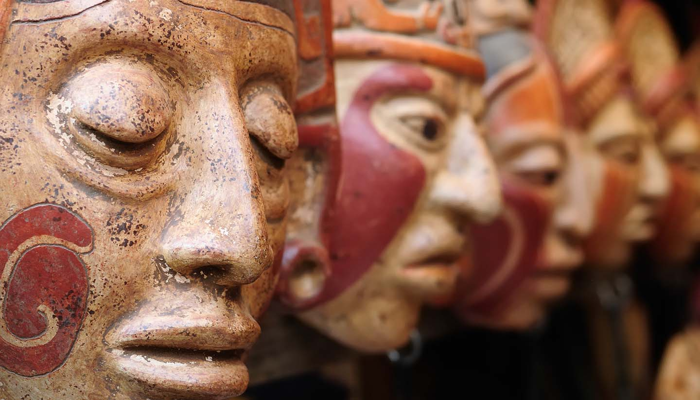 Guatemala - Guatemala,Mayan clay masks at the market