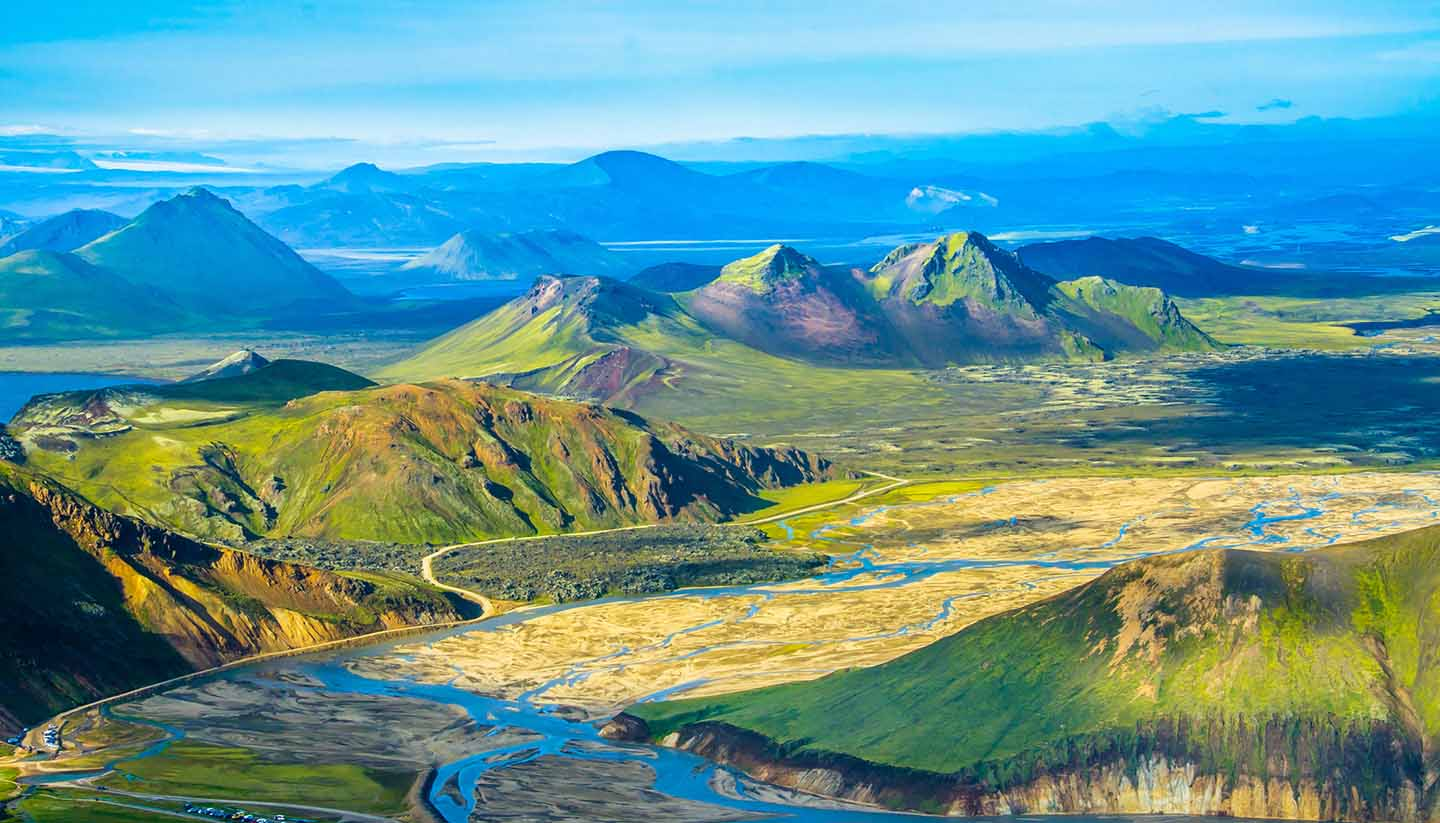Island - Green mountainous landscape of Iceland as viewed from above