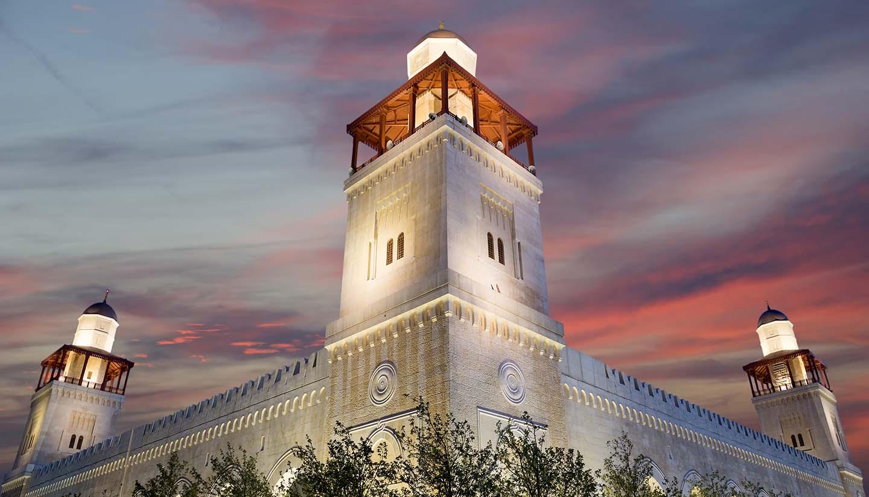 Jordanien - King Hussein Bin Talal mosque in Amman (at night), Jordan