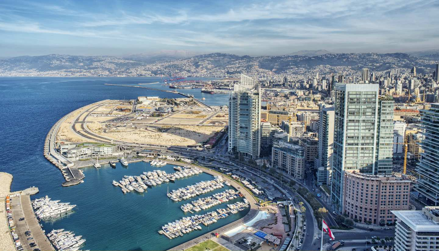 Libanon - Aerial View of Beirut Lebanon, City of Beirut