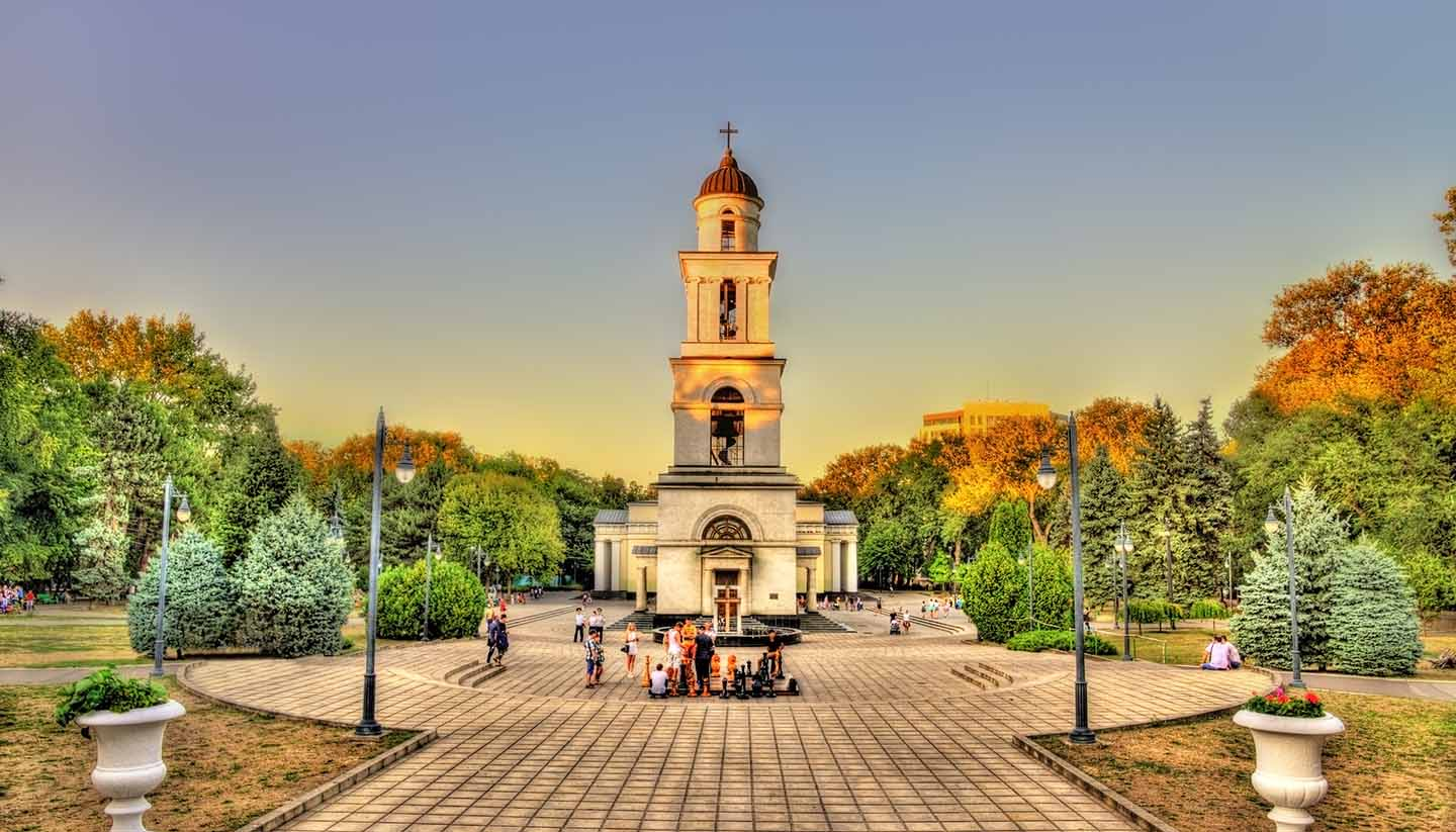 Moldau - Bell tower of the Nativity Cathedral in Chisinau - Moldova