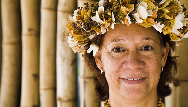 Nauru - Portrait of a woman wearing flowers, Papeete, Tahiti, French Polynesia