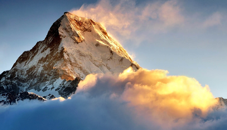 Nepal - Sunrise over Snow capped mountain Machapuchare, Annapurna Himalaya