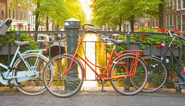 Amsterdam - Bikes on the bridge in Amsterdam Netherlands