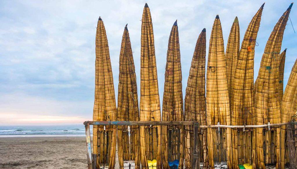 Peru - Traditional Peruvian small Reed Boats in Peru