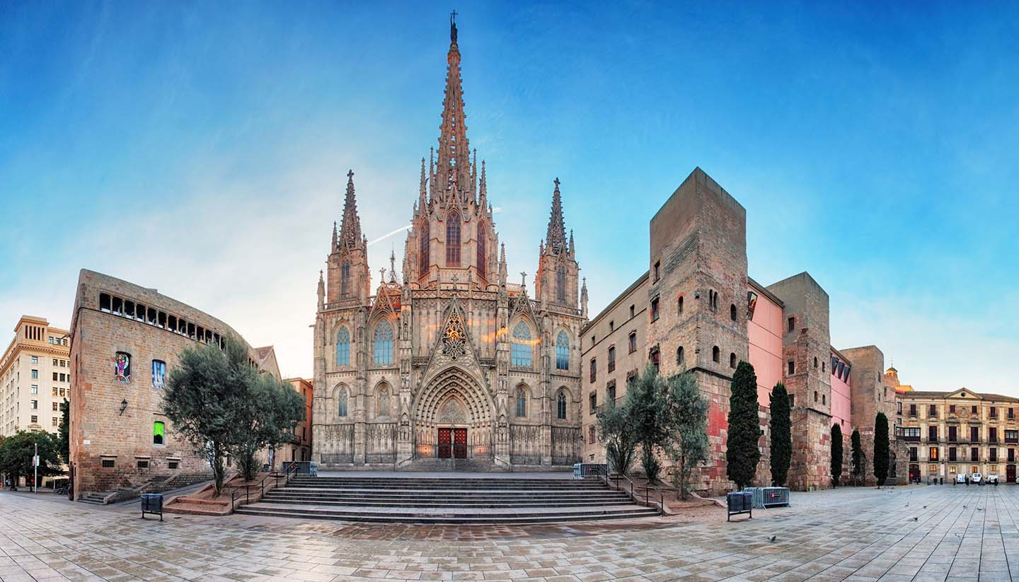 Barcelona - Panorama of Barcelona Cathedral. Spain. Barri Gothic