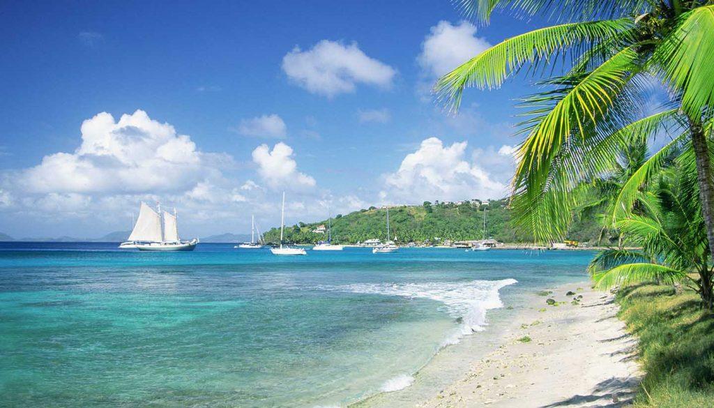 St. Vincent und die Grenadinen - Caribbean, Grenadines, Britannia Bay, Mustique, View of a beach
