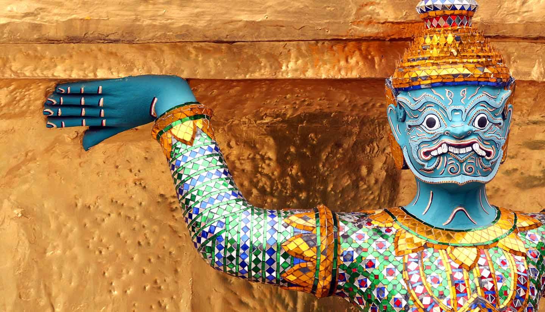Bangkok - Colorful temple guardian statue