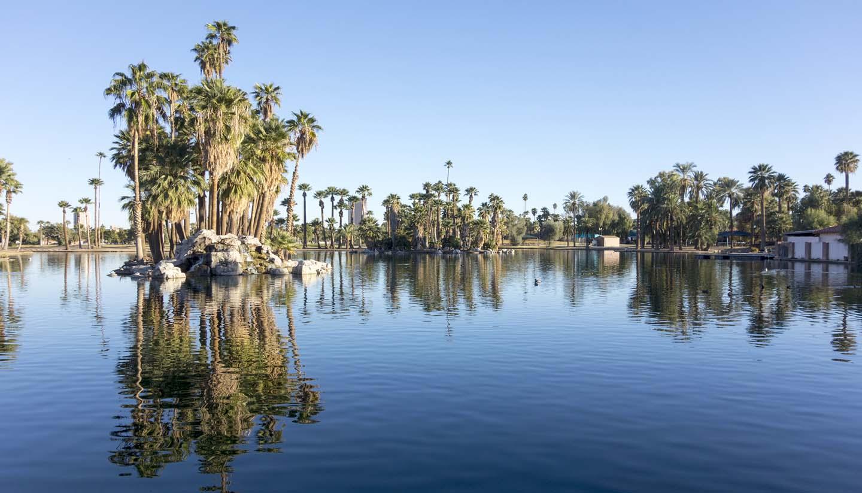 Arizona - Reflections in Encanto Park Lake, Phoenix, AZ