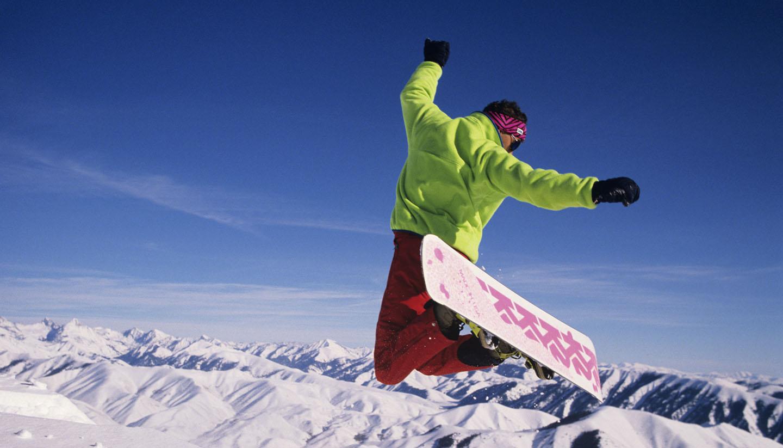 Idaho - Snowboarder in air, Sun Valley, Idaho, USA