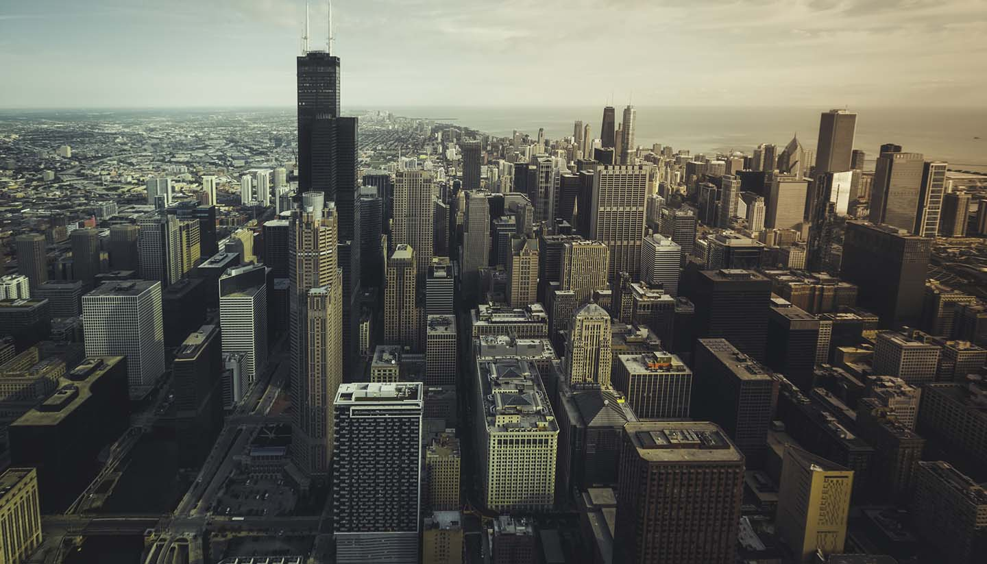 Illinois - Chicago financial distict aerial view