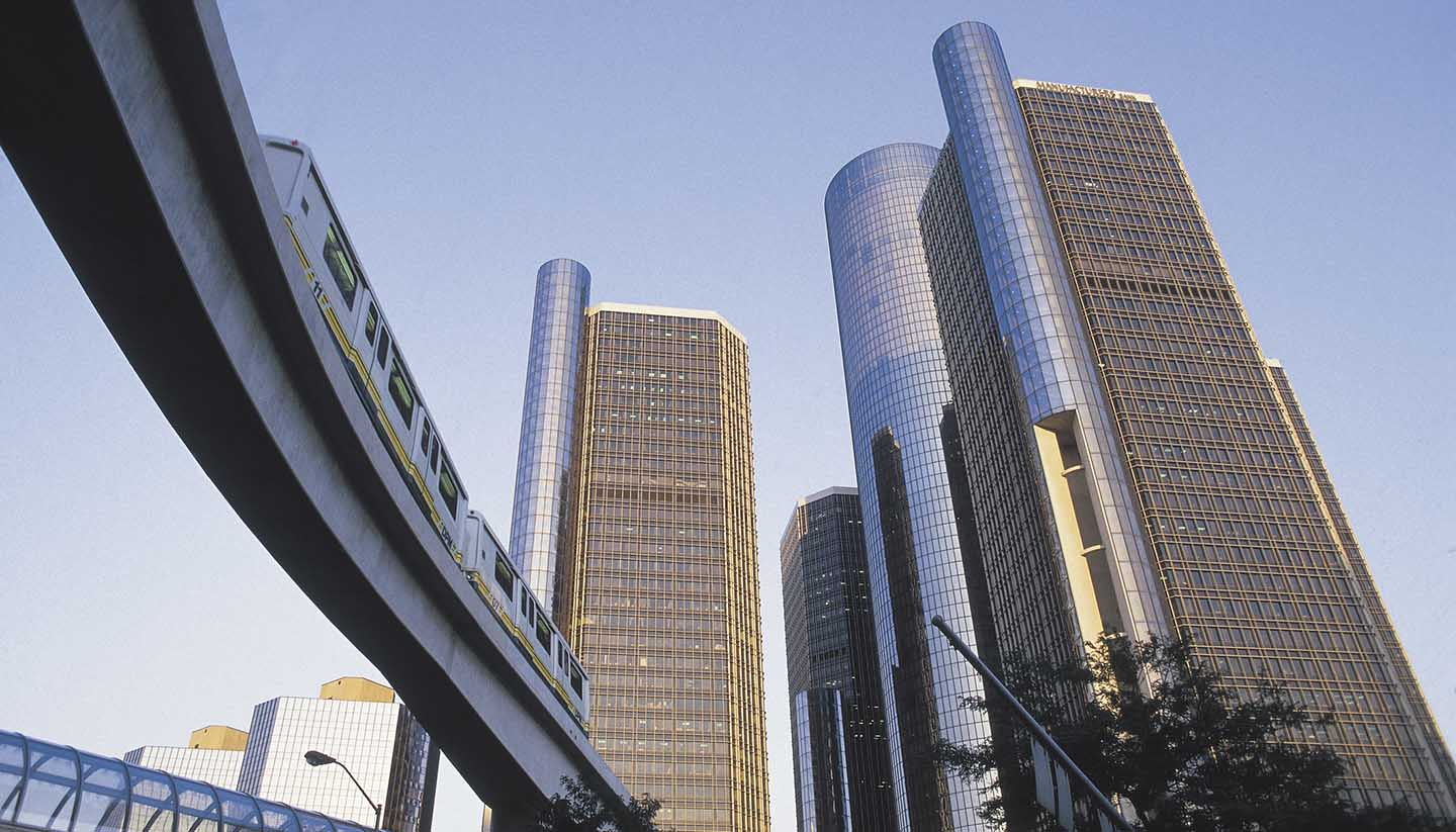 Michigan - Renaissance Center and monorail , Detroit , Michigan