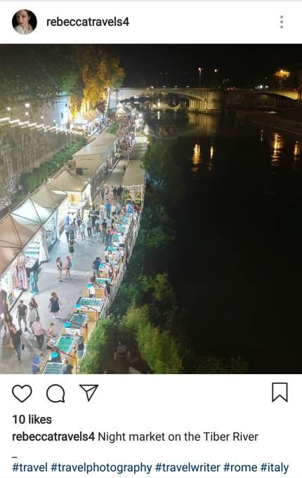 Nächtlicher Markt am Fluss Tiber