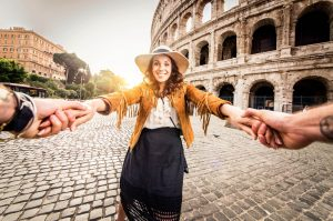 Smiling woman in Rome, Italy